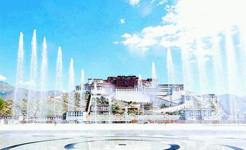 西藏布达拉宫音乐喷泉——置身世界地理位置最高的音乐喷泉