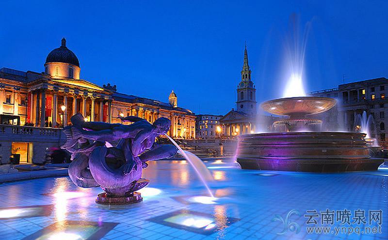 最美音乐喷泉-伦敦特拉法加广场喷泉